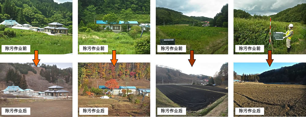 Image : Before & After the Decontamination Work in Tamura City